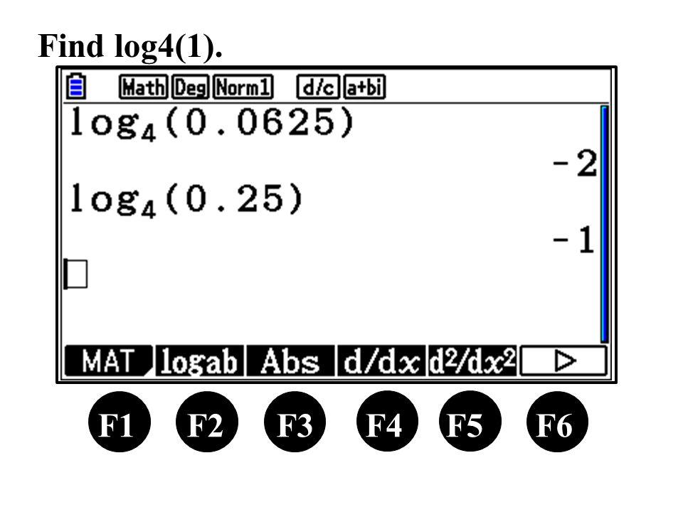 F1 F2 F3 F4 F5 F6 Find log4(1).