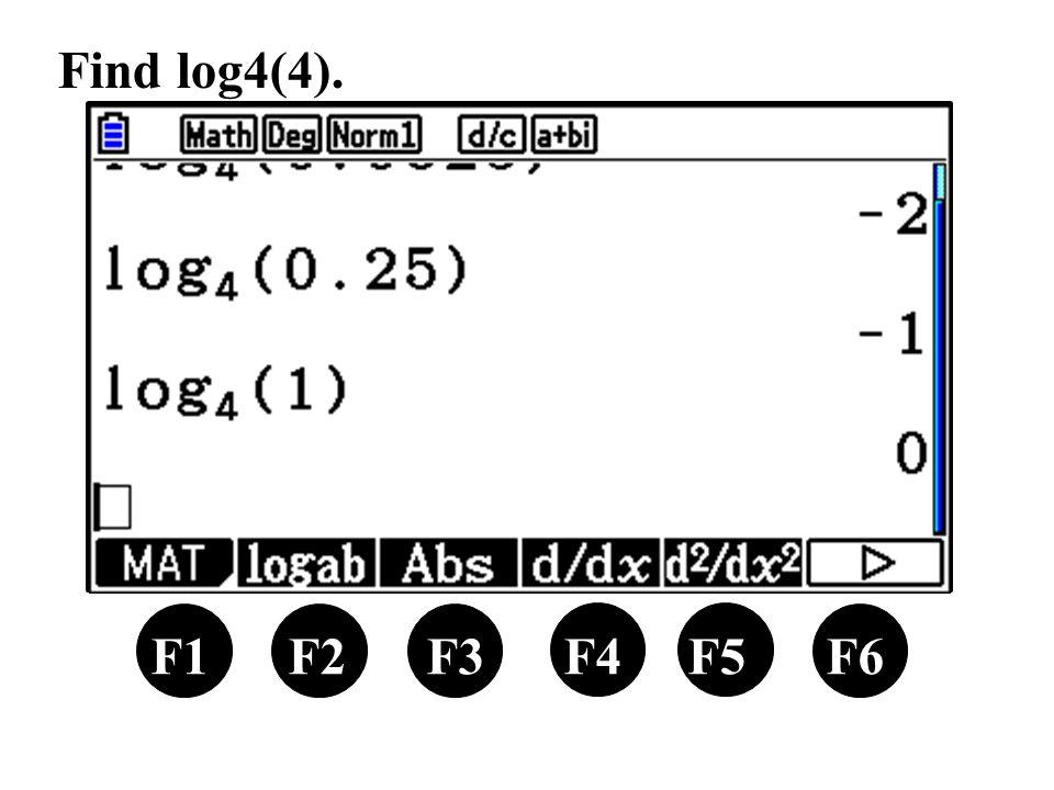 F1 F2 F3 F4 F5 F6 Find log4(4).