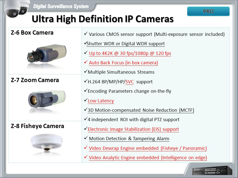 Ultra High Definition IP Cameras Various CMOS sensor support (Multi-exposure sensor included) Shutter WDR or Digital WDR support Up to 4K2K @ 30 fps/1080p @ 120 fps Auto Back Focus (in box camera) Multiple Simultaneous Streams H.264 BP/MP/HP/SVC support Encoding Parameters change on-the-fly Low Latency 3D Motion-compensated Noise Reduction (MCTF) 4 independent ROI with digital PTZ support Electronic Image Stabilization (EIS) support Motion Detection & Tampering Alarm Video Dewrap Engine embedded (Fisheye / Panoramic) Video Analytic Engine embedded (Intelligence on edge) Z-6 Box Camera Z-7 Zoom Camera Z-8 Fisheye Camera
