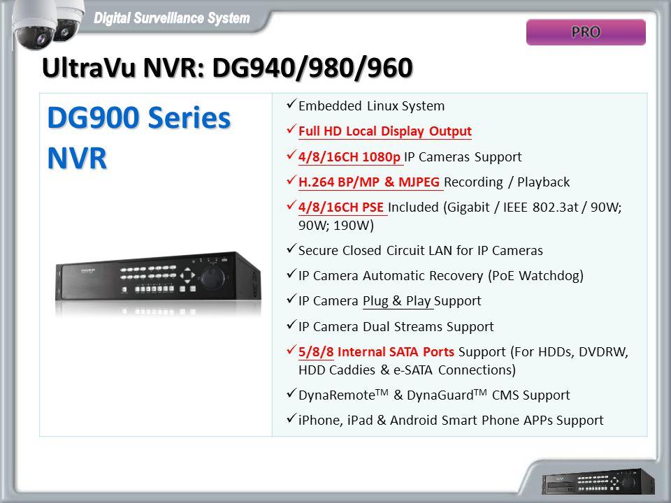 UltraVu NVR: DG940/980/960 DG900 Series NVR Embedded Linux System Full HD Local Display Output 4/8/16CH 1080p IP Cameras Support H.264 BP/MP & MJPEG R