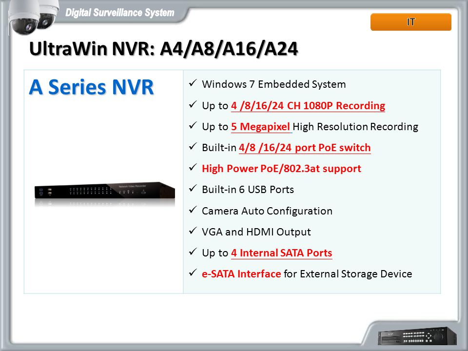 A Series NVR Windows 7 Embedded System Up to 4 /8/16/24 CH 1080P Recording Up to 5 Megapixel High Resolution Recording Built-in 4/8 /16/24 port PoE sw