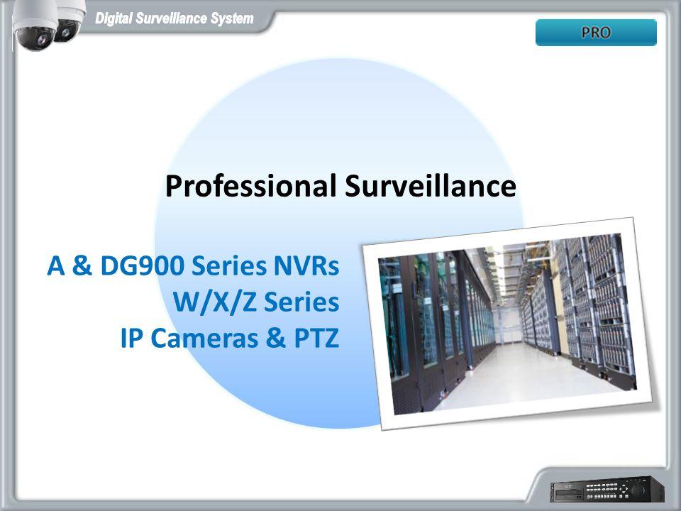Professional Surveillance A & DG900 Series NVRs W/X/Z Series IP Cameras & PTZ