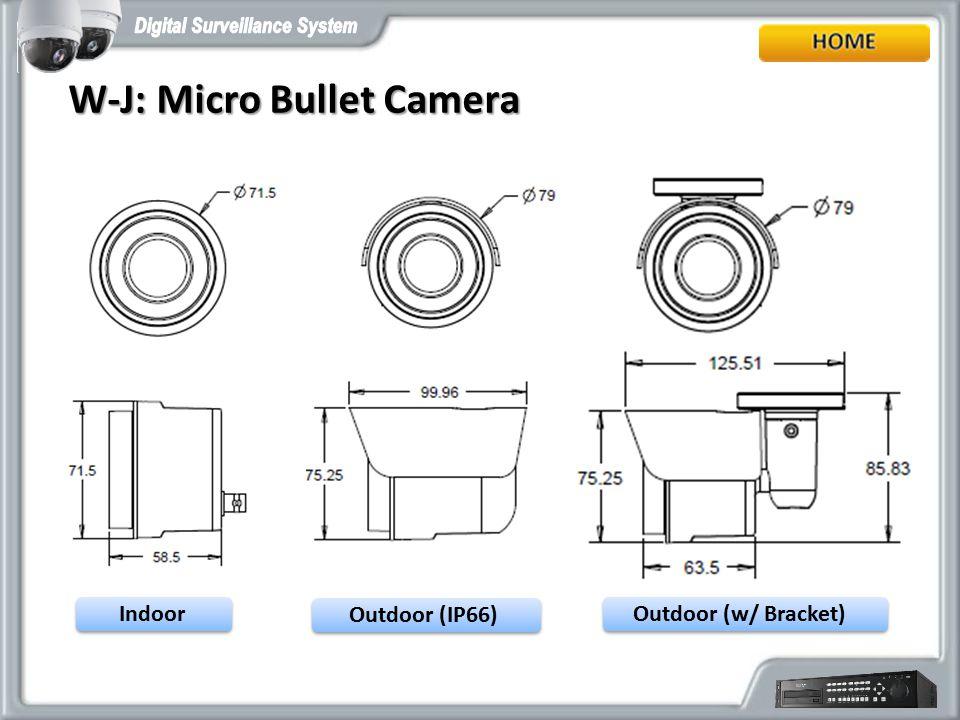 W-J: Micro Bullet Camera W-J: Micro Bullet Camera Indoor Outdoor (IP66) Outdoor (w/ Bracket)