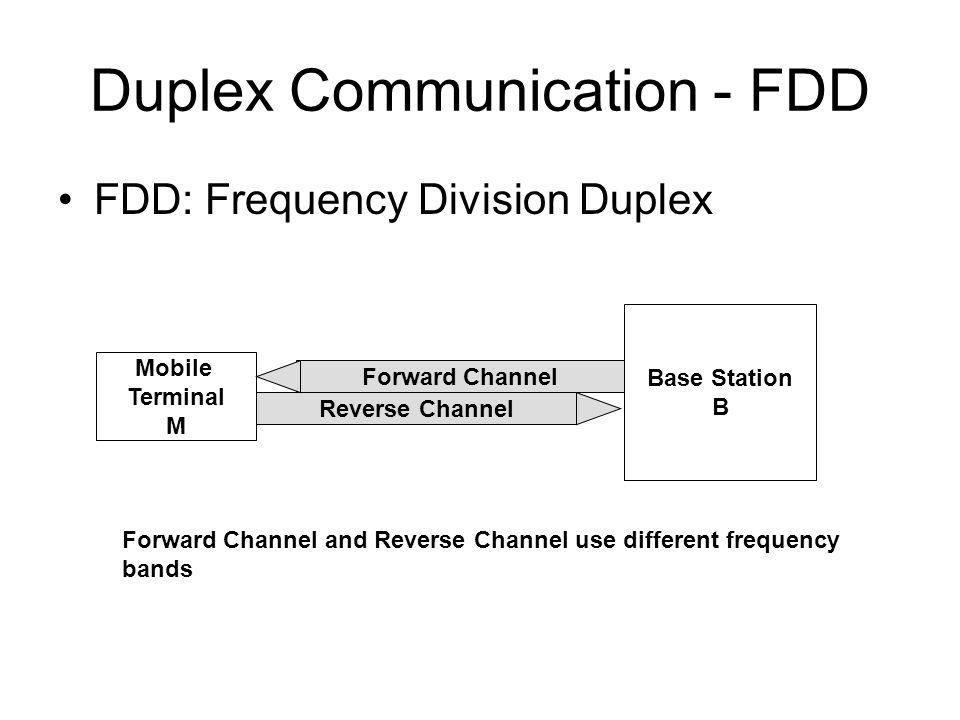 Duplex Communication - FDD FDD: Frequency Division Duplex Base Station B Mobile Terminal M Forward Channel Reverse Channel Forward Channel and Reverse