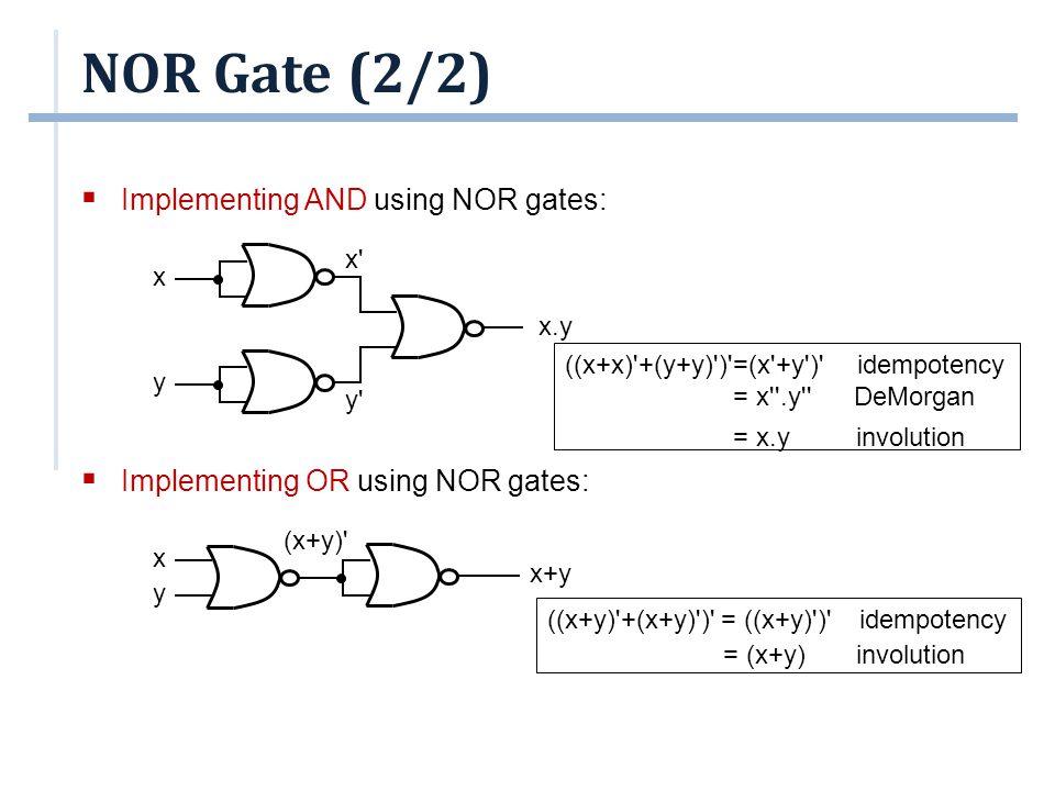NOR Gate (2/2) ((x+x)'+(y+y)')'=(x'+y')' idempotency = x''.y'' DeMorgan = x.y involution ((x+y)'+(x+y)')' = ((x+y)')' idempotency = (x+y) involution 