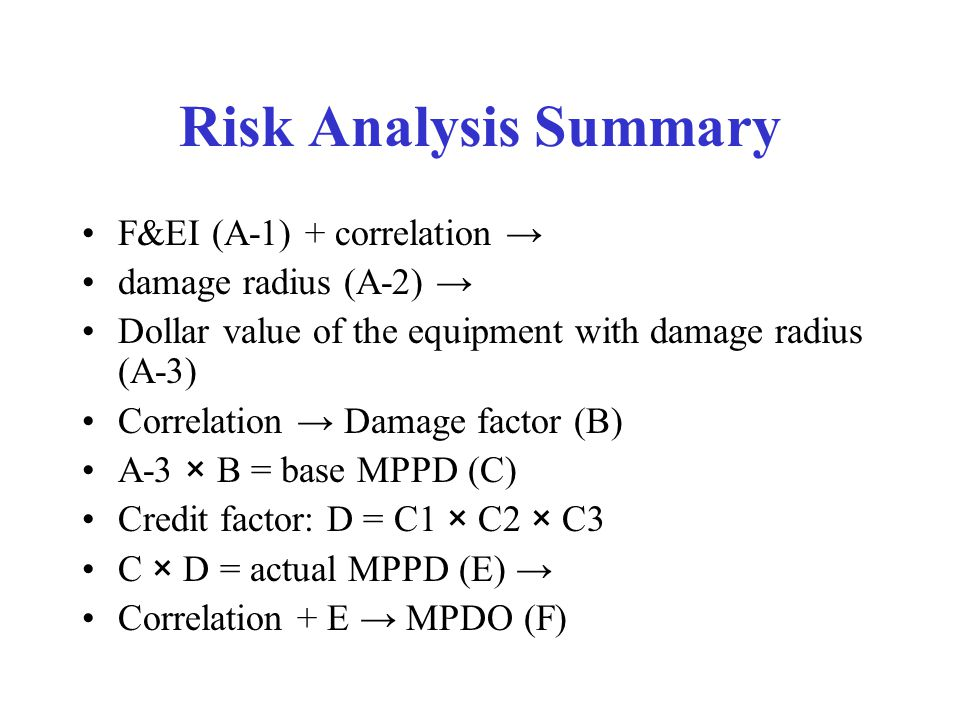 Risk Analysis Summary F&EI (A-1) + correlation → damage radius (A-2) → Dollar value of the equipment with damage radius (A-3) Correlation → Damage fac