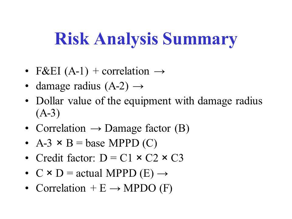 Risk Analysis Summary F&EI (A-1) + correlation → damage radius (A-2) → Dollar value of the equipment with damage radius (A-3) Correlation → Damage factor (B) A-3 × B = base MPPD (C) Credit factor: D = C1 × C2 × C3 C × D = actual MPPD (E) → Correlation + E → MPDO (F)
