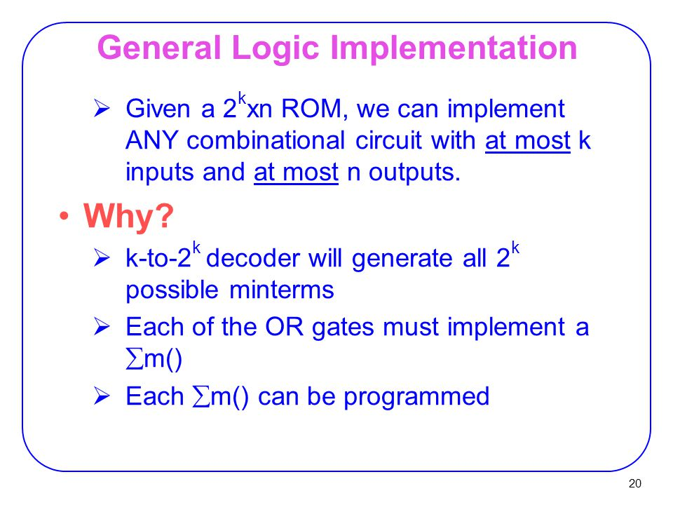20 General Logic Implementation  Given a 2 k xn ROM, we can implement ANY combinational circuit with at most k inputs and at most n outputs.