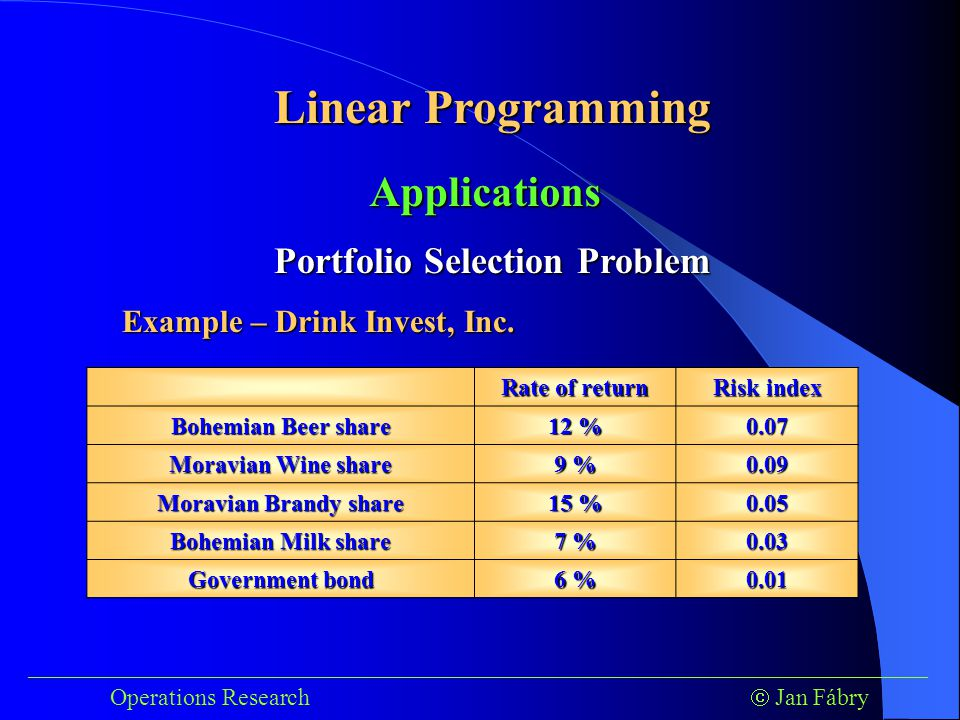 Linear Programming ___________________________________________________________________________ Operations Research  Jan Fábry Applications Portfolio Selection Problem Example – Drink Invest, Inc.