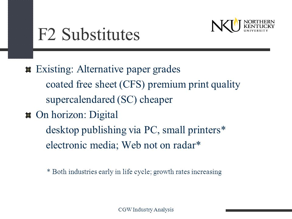 CGW Industry Analysis F2 Substitutes Existing: Alternative paper grades coated free sheet (CFS) premium print quality supercalendared (SC) cheaper On horizon: Digital desktop publishing via PC, small printers* electronic media; Web not on radar* * Both industries early in life cycle; growth rates increasing