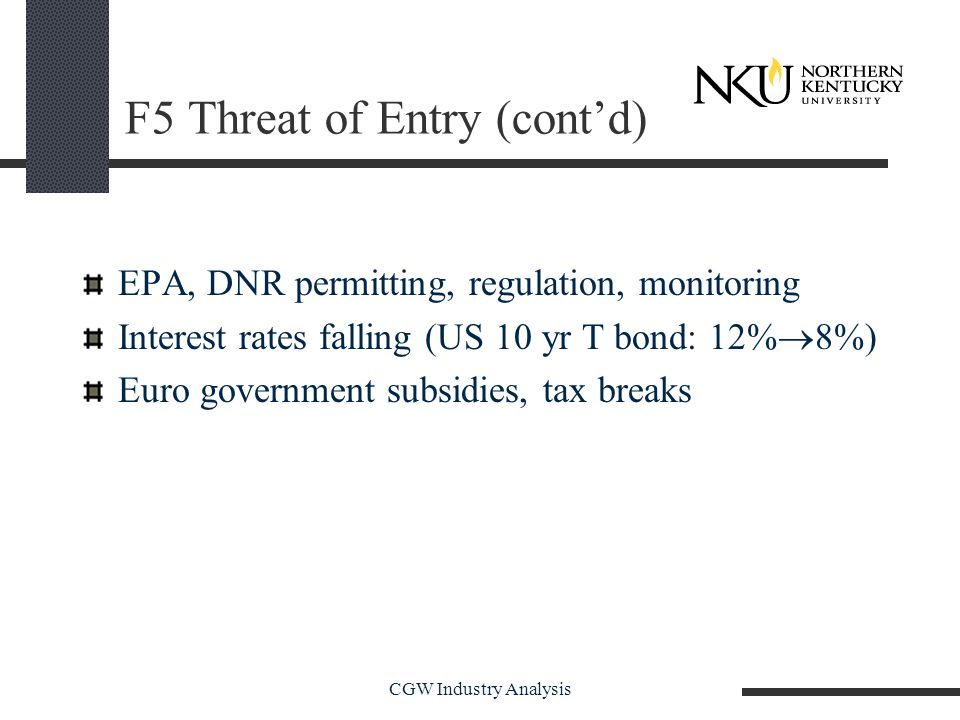 CGW Industry Analysis F5 Threat of Entry (cont'd) EPA, DNR permitting, regulation, monitoring Interest rates falling (US 10 yr T bond: 12%  8%) Euro government subsidies, tax breaks