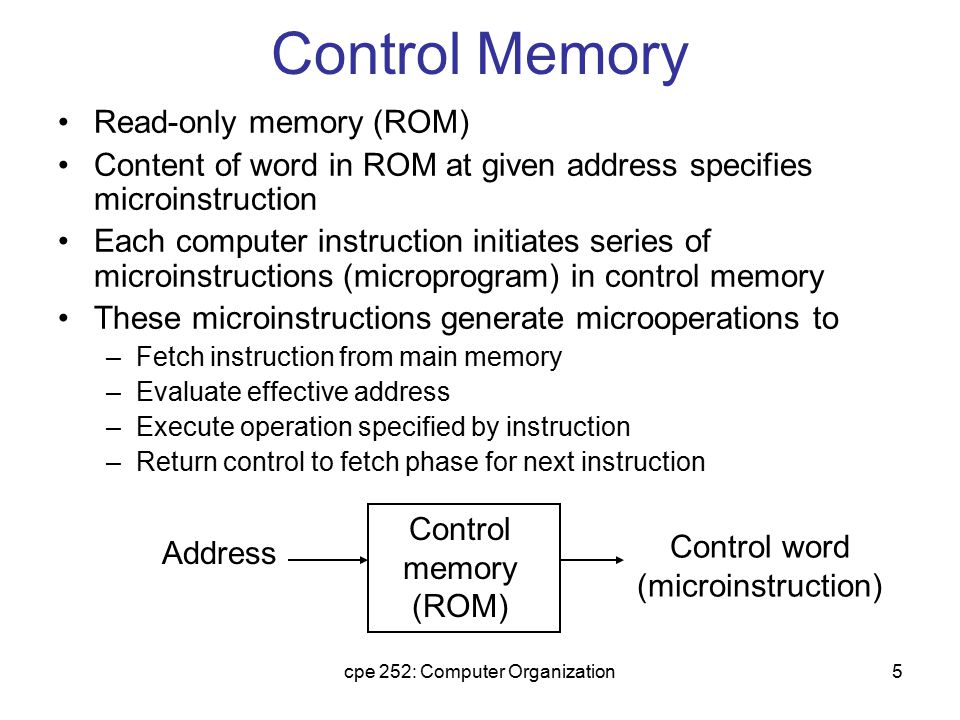 cpe 252: Computer Organization26 Input Logic for Microprogram Sequencer Input logic I0I0 I1I1 T MUX2 Select 1 I S Z Test CD Field of CS From CPU BR field of CS L(load SBR with PC) for subroutine Call S0S1S0S1 for next address selection I1I0T Meaning Source of Address S 1 S 0 L 000 In-Line CAR+1 00 0 001 JMP CS(AD) 01 0 010 In-Line CAR+1 00 0 011 CALL CS(AD) and SBR <- CAR+1 01 1 10x RET SBR 10 0 11x MAP DR(11-14) 11 0 L S1 = I1 S 0 = I 0 I 1 + I1'T L = I 1 'I0T Input Logic