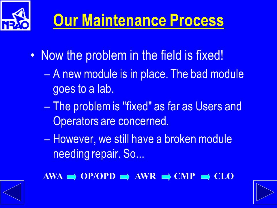 Our Maintenance Process The Maintenance Coordinator (MC) processes the submitted form: –The MC inspects the work order (WO) for clarity. –The MC verif