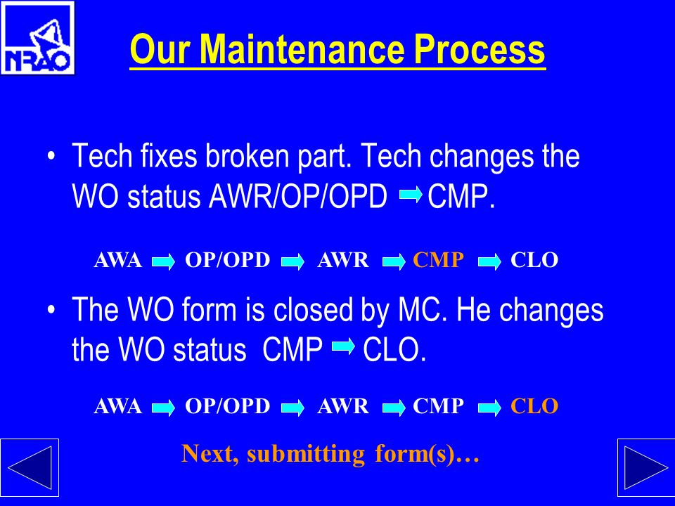 Our Maintenance Process Tech fixes broken part.Tech changes the WO status AWR/OP/OPD CMP.