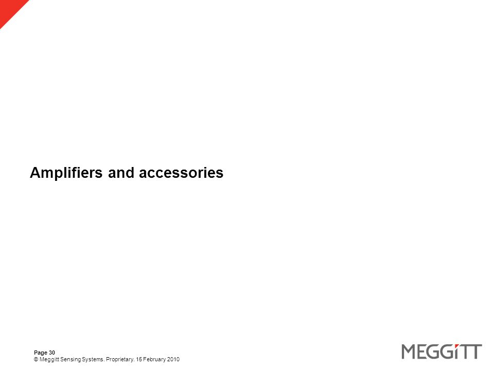 Page 30 © Meggitt Sensing Systems. Proprietary. 15 February 2010 Amplifiers and accessories