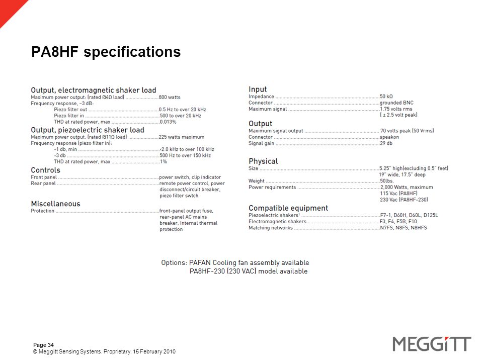 Page 34 © Meggitt Sensing Systems. Proprietary. 15 February 2010 PA8HF specifications