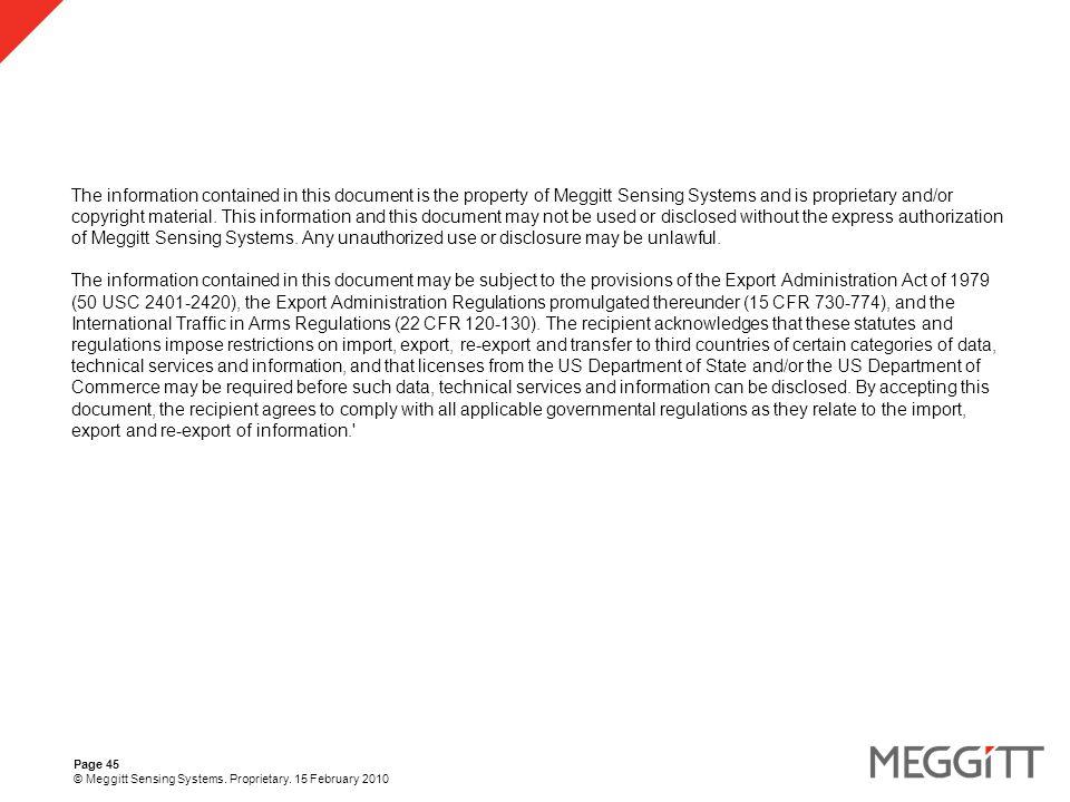 Page 45 © Meggitt Sensing Systems. Proprietary.