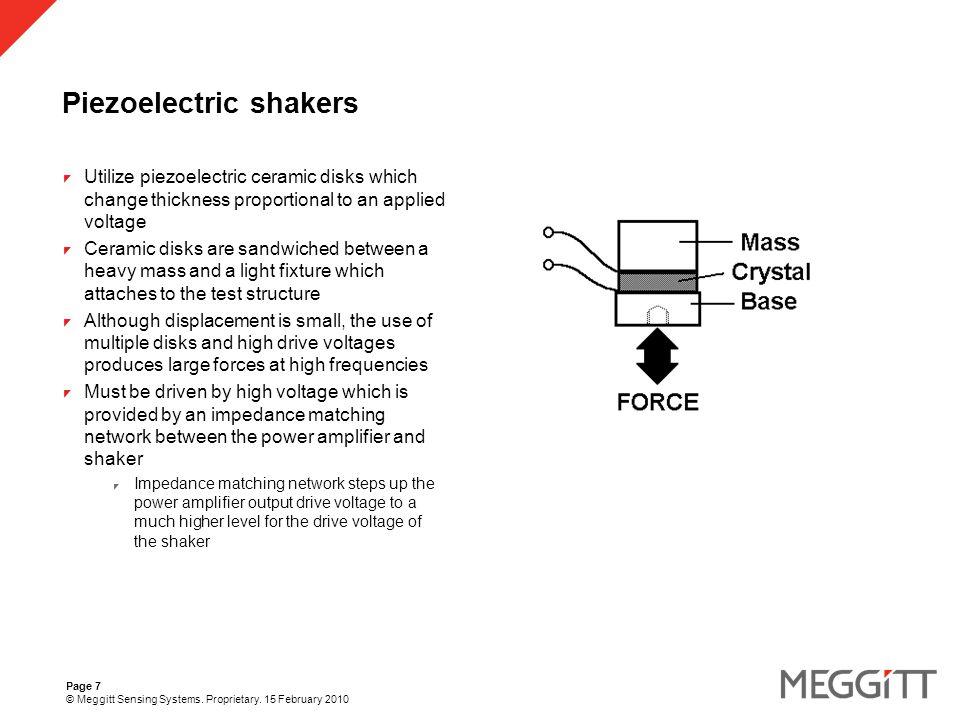Page 8 © Meggitt Sensing Systems. Proprietary. 15 February 2010 Reaction mass shakers