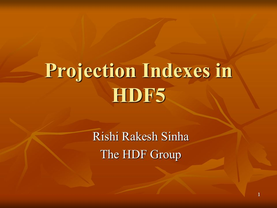 1 Projection Indexes in HDF5 Rishi Rakesh Sinha The HDF Group