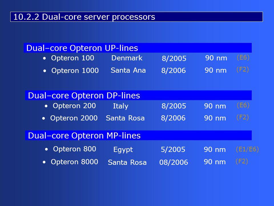 Opteron 200 Opteron 2000 Italy Opteron 100Denmark90 nm 8/2005 90 nm Santa Rosa8/200690 nm Opteron 800 Opteron 8000 Egypt5/200590 nm Santa Rosa08/2006 90 nm Opteron 1000 Santa Ana90 nm 8/2006 Dual–core Opteron UP-lines Dual–core Opteron DP-lines Dual–core Opteron MP-lines 10.2.2 Dual-core server processors (E6) (F2) (E6) (F2) (E1/E6) (F2)