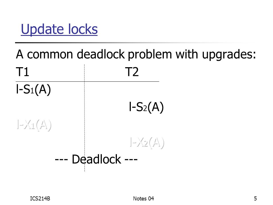 ICS214BNotes 046 Solution If T i wants to read A and knows it may later want to write A, it requests update lock (not shared) An update lock can allow read only An update lock needs to be upgraded to allow write An update lock can be granted if there is a shared lock But once an update lock is granted, no other shared/update lock (on the same item) can be granted