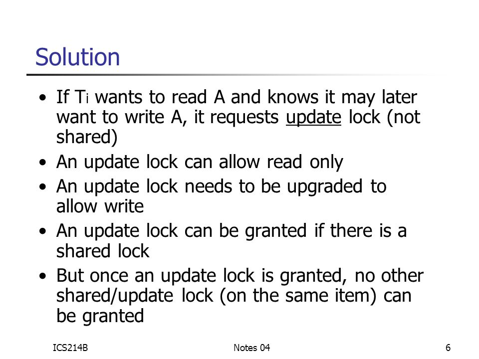 ICS214BNotes 0417 What are the objects we lock.Relation A Relation B...