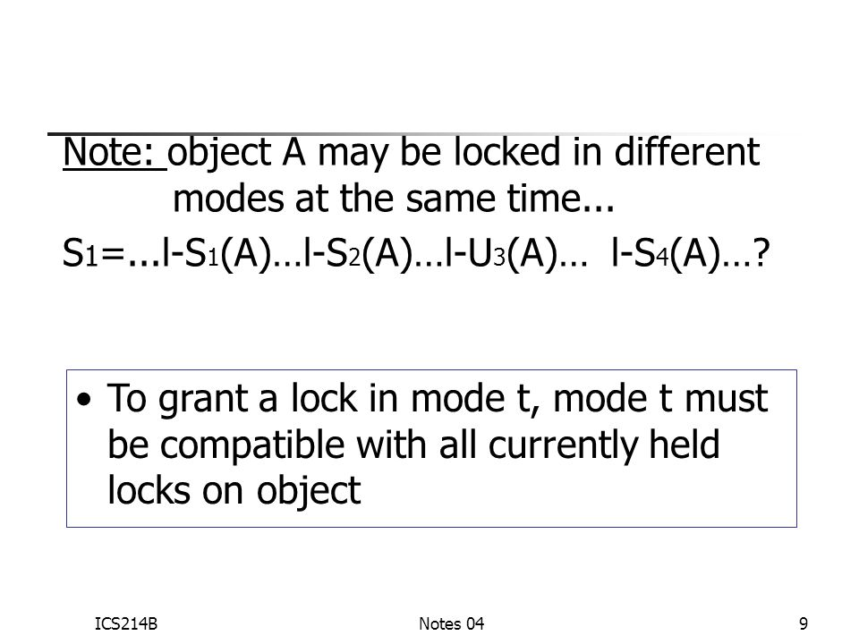 ICS214BNotes 049 Note: object A may be locked in different modes at the same time...