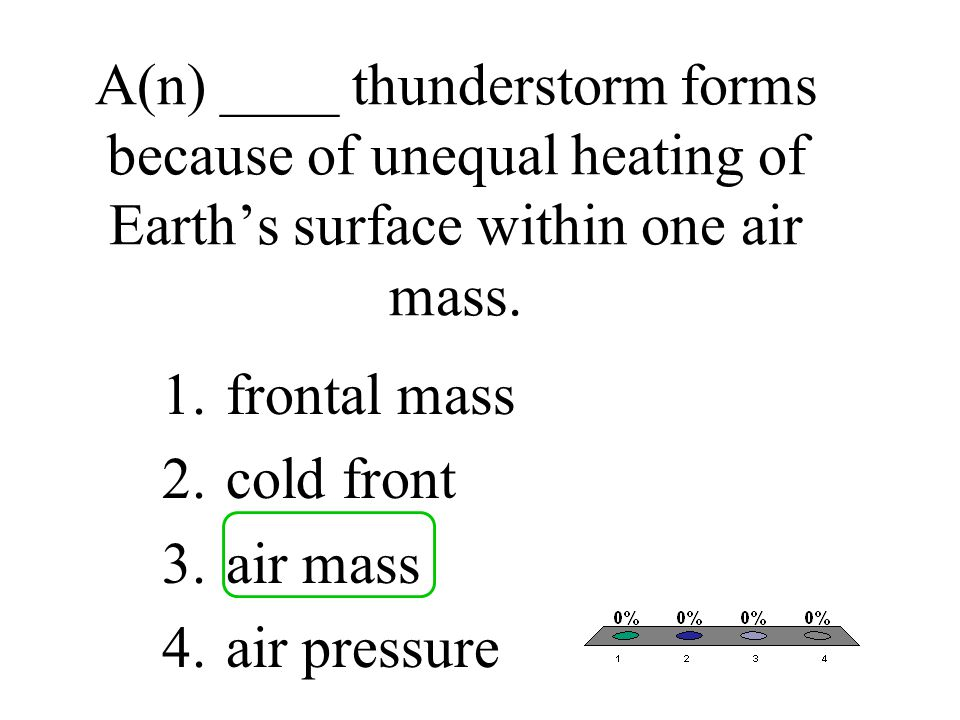 A(n) ____ thunderstorm forms because of unequal heating of Earth's surface within one air mass.