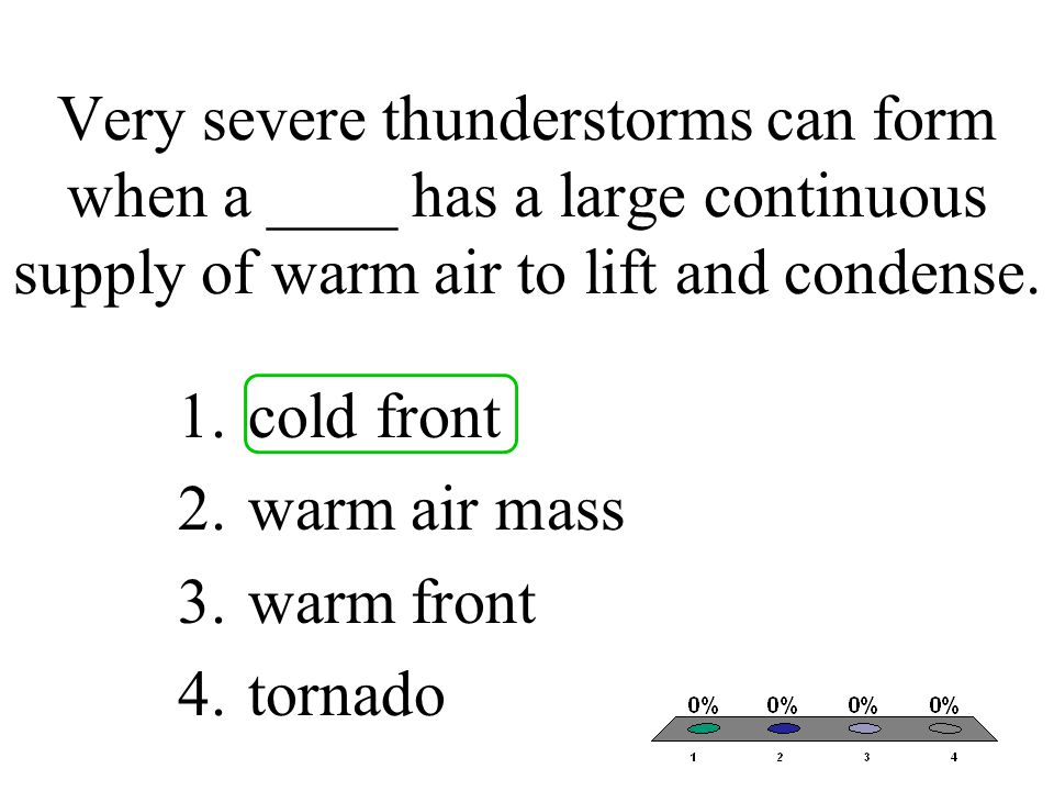 Very severe thunderstorms can form when a ____ has a large continuous supply of warm air to lift and condense. 1.cold front 2.warm air mass 3.warm fro