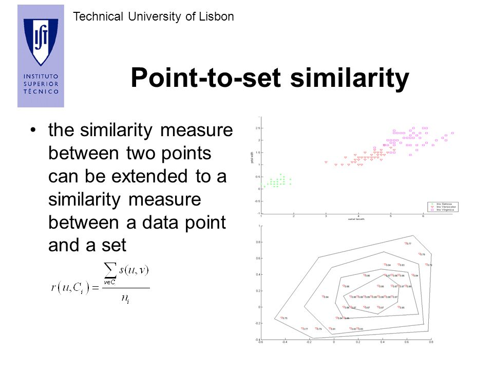 Technical University of Lisbon Point-to-set similarity the similarity measure between two points can be extended to a similarity measure between a data point and a set
