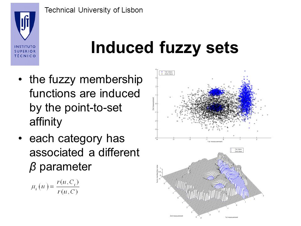 Technical University of Lisbon Induced fuzzy sets the fuzzy membership functions are induced by the point-to-set affinity each category has associated a different β parameter