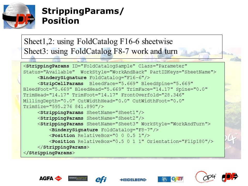 Sheet1,2: using FoldCatalog F16-6 sheetwise Sheet3: using FoldCatalog F8-7 work and turn StrippingParams/ Position