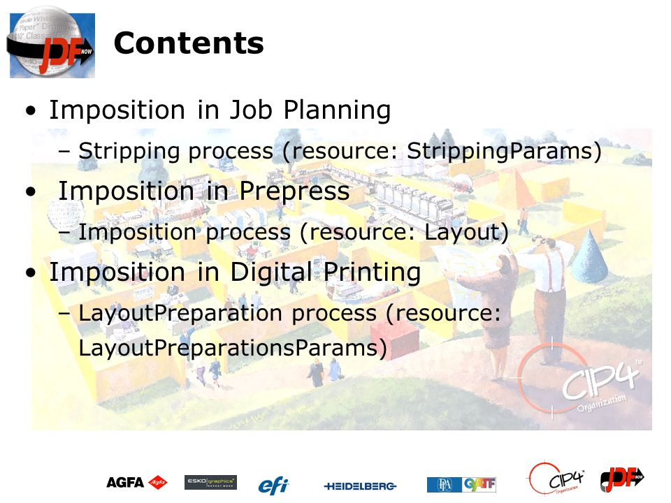 Contents Imposition in Job Planning –Stripping process (resource: StrippingParams) Imposition in Prepress –Imposition process (resource: Layout) Impos