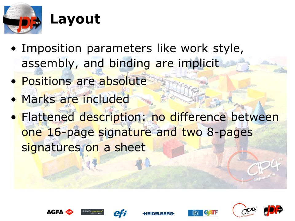 Layout Imposition parameters like work style, assembly, and binding are implicit Positions are absolute Marks are included Flattened description: no d