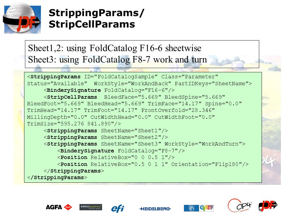 Sheet1,2: using FoldCatalog F16-6 sheetwise Sheet3: using FoldCatalog F8-7 work and turn StrippingParams/ StripCellParams