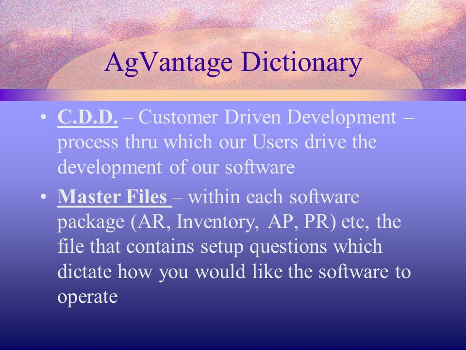 AgVantage Dictionary C.D.D.