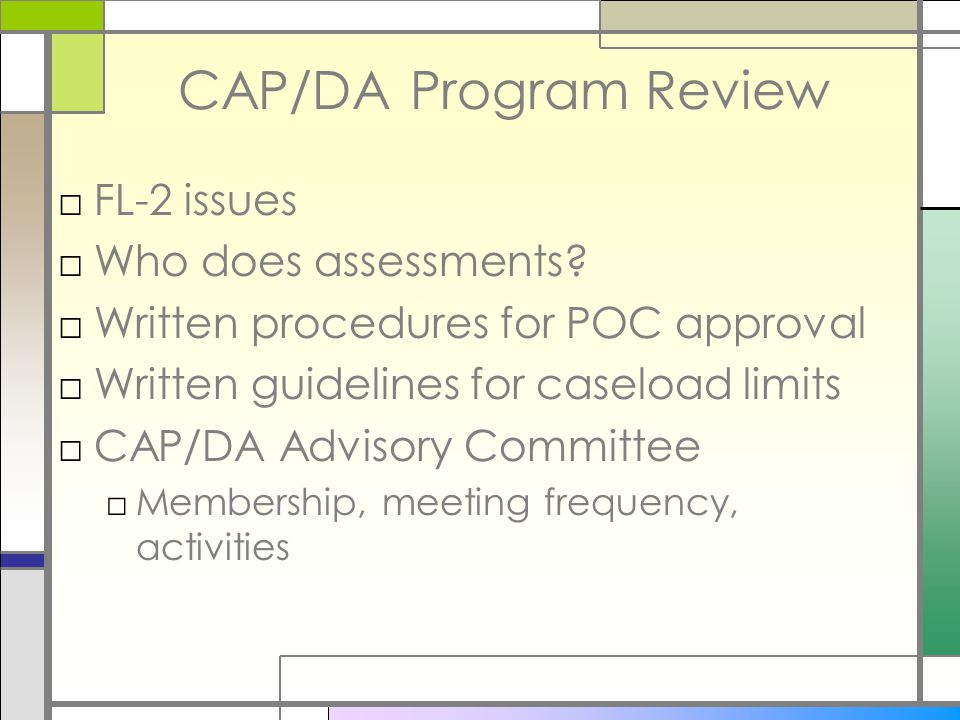 CAP/DA Program Review □FL-2 issues □Who does assessments.