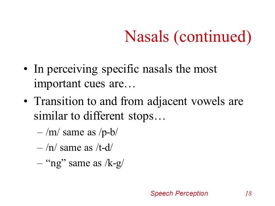 Speech Perception17 Nasals (continued)