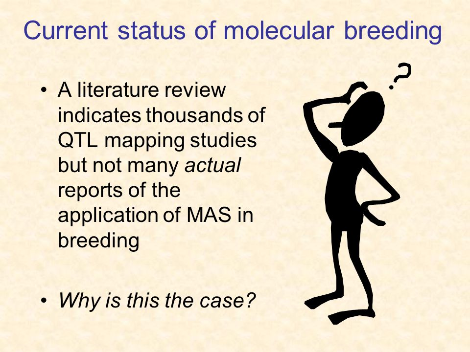Current status of molecular breeding A literature review indicates thousands of QTL mapping studies but not many actual reports of the application of MAS in breeding Why is this the case?