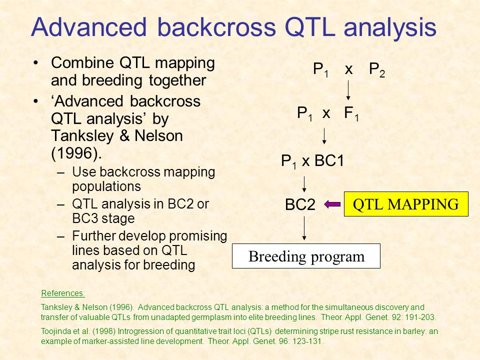 Advanced backcross QTL analysis Combine QTL mapping and breeding together 'Advanced backcross QTL analysis' by Tanksley & Nelson (1996).
