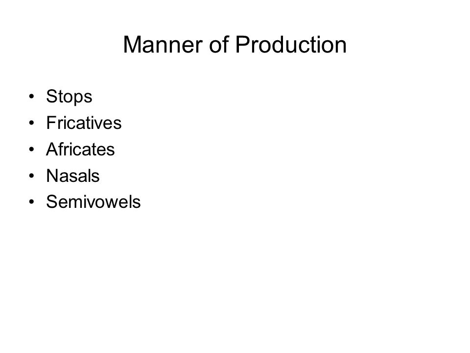 Manner of Production Stops Fricatives Africates Nasals Semivowels