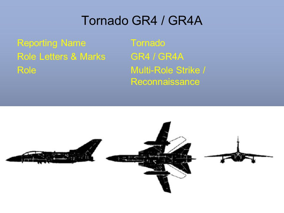Tornado GR4 / GR4A Reporting NameTornado Role Letters & MarksGR4 / GR4A RoleMulti-Role Strike / Reconnaissance
