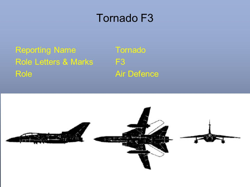 Tornado F3 Reporting NameTornado Role Letters & MarksF3 RoleAir Defence