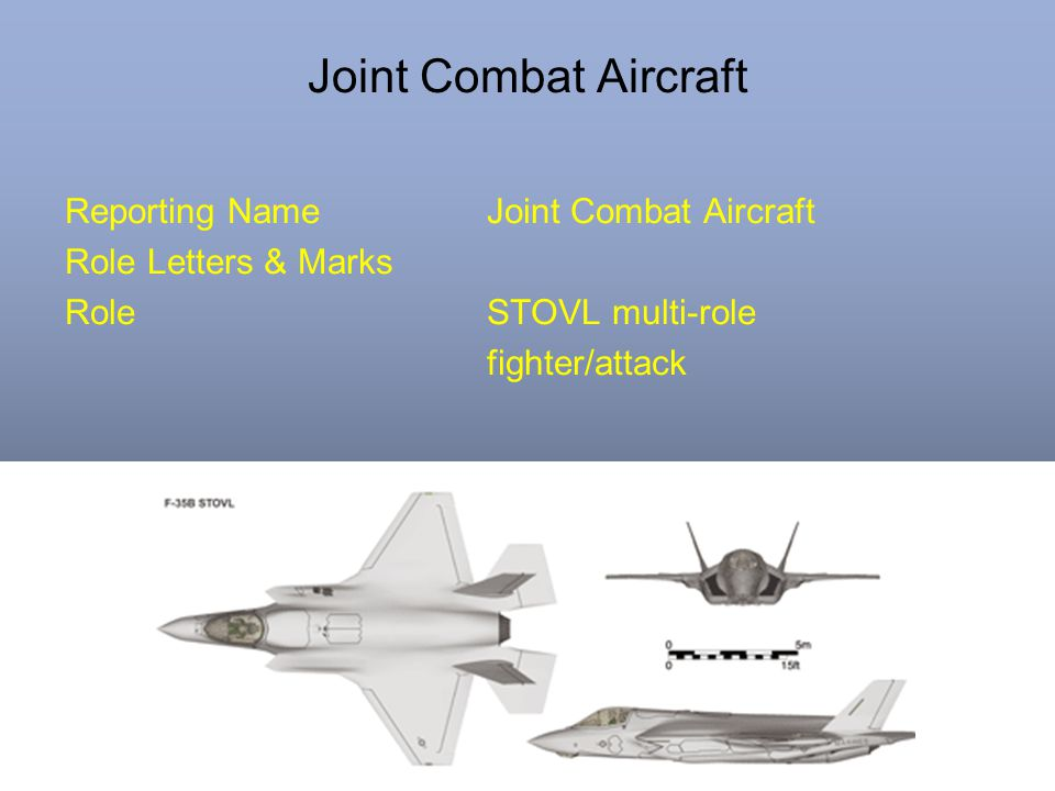 Joint Combat Aircraft Reporting NameJoint Combat Aircraft Role Letters & Marks RoleSTOVL multi-role fighter/attack