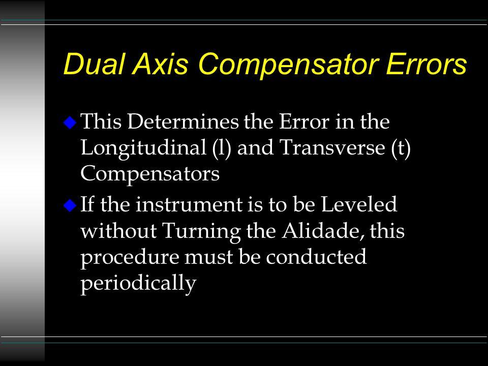 Dual Axis Compensator Errors Page 2 u Acclimatize the Instrument u Level the Instrument u Activate the Calibration Procedure u Select from the Main Menu u Press (l, t) u Follow Prompts