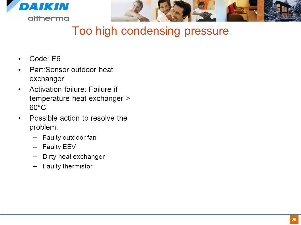 20 Too high condensing pressure Code: F6 Part:Sensor outdoor heat exchanger Activation failure: Failure if temperature heat exchanger > 60°C Possible