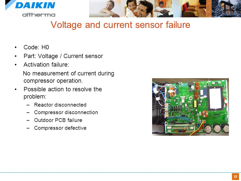 22 Voltage and current sensor failure Code: H0 Part: Voltage / Current sensor Activation failure: No measurement of current during compressor operatio