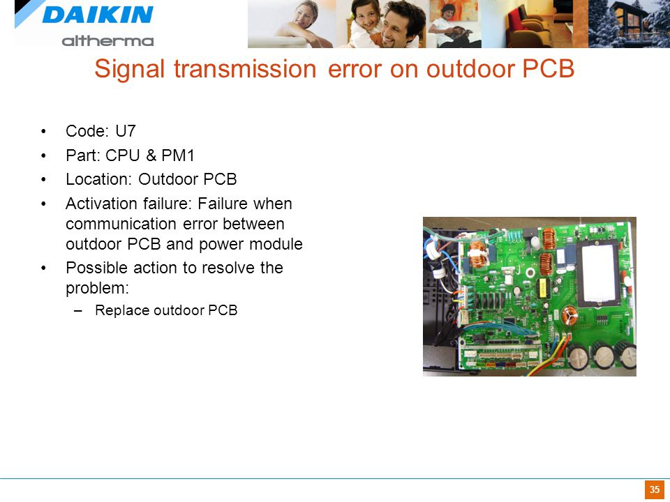 35 Signal transmission error on outdoor PCB Code: U7 Part: CPU & PM1 Location: Outdoor PCB Activation failure: Failure when communication error betwee