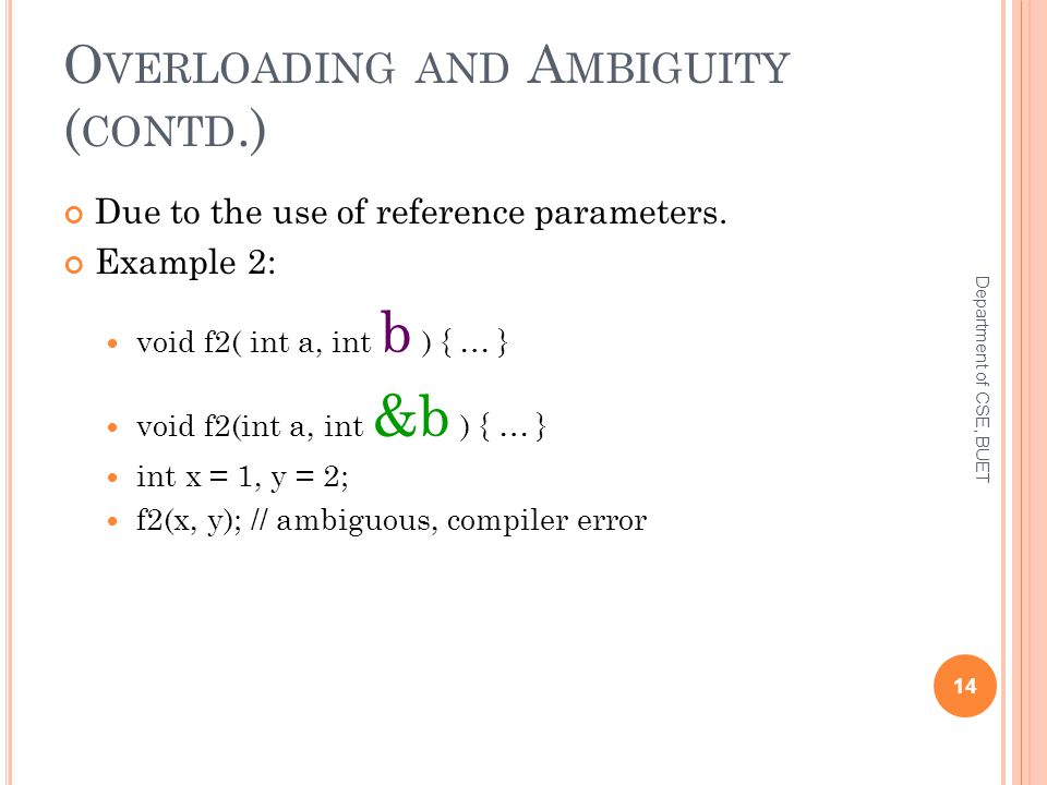 O VERLOADING AND A MBIGUITY ( CONTD.) Due to the use of reference parameters.