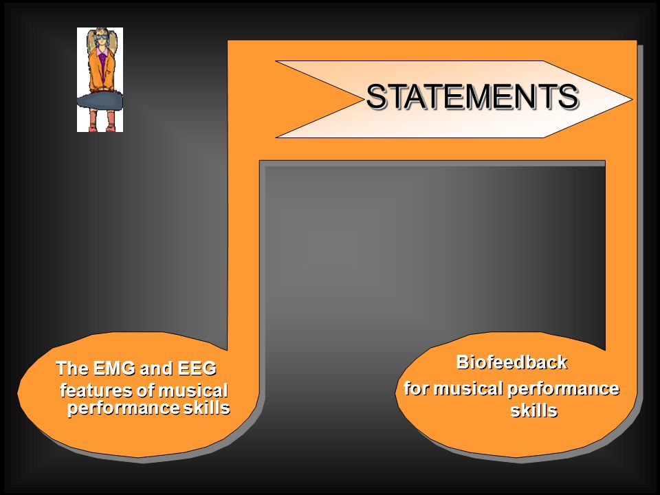The EMG and EEG features of musical performance skills The EMG and EEG features of musical performance skills Biofeedback for musical performance skills Biofeedback for musical performance skills STATEMENTSSTATEMENTS
